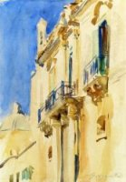 Facade of a Palazzo, Girgente, Sicily - John Singer Sargent Oil Painting