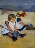 Children on the Shore - Mary Cassatt Oil Painting