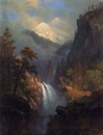 Cascading Falls at Sunset - Albert Bierstadt Oil Painting