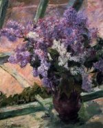 Lilacs in a Window II - Mary Cassatt Oil Painting