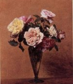 Roses in a Vase III - Henri Fantin-Latour Oil Painting
