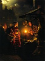 Market Place by Candlelight - Petrus Van Schendel Oil Painting