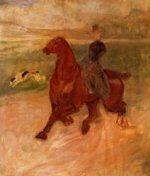 Horsewoman and Dog - Henri De Toulouse-Lautrec Oil Painting