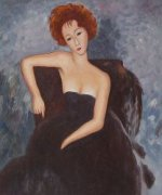 Young Redhead in an Evening Dress, 1918 - Oil Painting Reproduction On Canvas