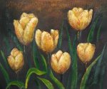 Orange Tulips Blooming - Oil Painting Reproduction On Canvas