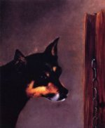Dog Head with Post and Chain - William Aiken Walker Oil Painting