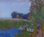 Goose Girl - Alfred Sisley Oil Painting