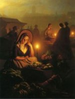 A Young Girl Selling Vegetables at the Night Market, with the Dam Palace and the Nieuwe Kerk in the Distance, Amsterdam - Petrus Van Schendel Oil Painting
