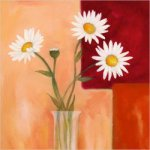 Four white chrysanthemums in a glass - Oil Painting Reproduction On Canvas