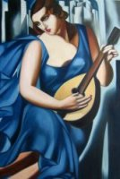 Woman in blue with Mandolin