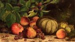 Still Life with Melon, Grapes, Peaches, Pears and Black Raspberries - William Mason Brown Oil Painting