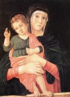 Madonna with Child Blessing - Giovanni Bellini Oil Painting