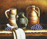 Still Life with Jugs and Grapes - Oil Painting Reproduction On Canvas