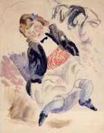 Seated Young Girl IV - Jules Pascin Oil Painting