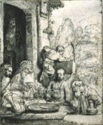 Abraham Entertaining the Angels II - Rembrandt van Rijn oil painting