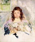 Sketch for 'Francoise in a Round-Backed Chair, Reading - Mary Cassatt Oil Painting