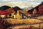 North Carolina Homestead with Mountains and Field - William Aiken Walker Oil Painting