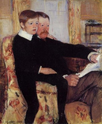 Portrait of Alexander J. Cassat and His Son Robert Kelso Cassatt - Mary Cassatt Oil Painting