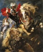 St George and a Dragon - Peter Paul Rubens Oil Painting