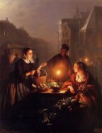 A Moonlit Vegetable Market - Petrus Van Schendel Oil Painting