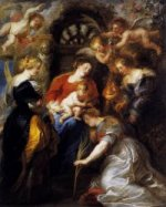 The Crowning of St Catherine - Peter Paul Rubens Oil Painting