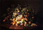 Still Life with Fruit on a Marble Ledge - Leopold Zinnogger Oil Painting