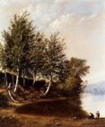 Figures in a Landscape - Alfred Thompson Bricher Oil Painting