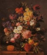 A Pineapple by a Bunch of Flowers - Oil Painting Reproduction On Canvas