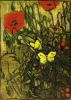 Poppies and Buttreflies - Vincent Van Gogh Oil Painting
