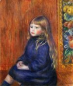 Seated Child in a Blue Dress II - Pierre Auguste Renoir Oil Painting