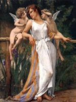 Nymph and Cherubs - Guillaume Seignac Oil Painting
