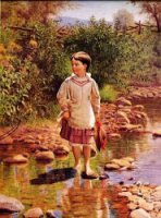 Crossing the Brook - John George Brown Oil Painting