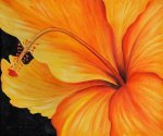 Golden Hibiscus (Left) - Oil Painting Reproduction On Canvas