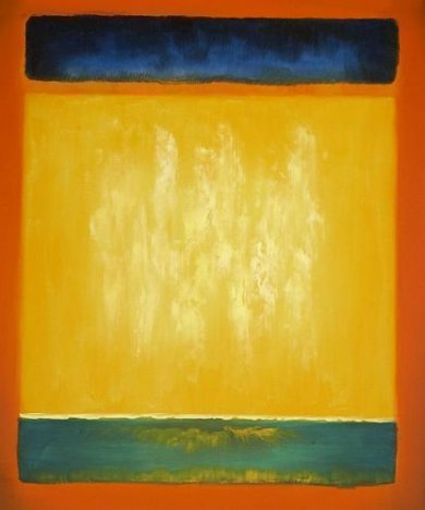 Untitled (blue, yellow, and green on red) - Mark Rothko Oil Painting