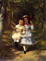 Two Girls on a Swing - John George Brown Oil Painting