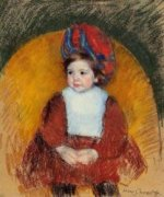 Margot in a Dark Red Costume Seated on a Round Backed Chair - Mary Cassatt Oil Painting