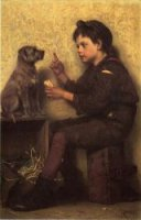 The Lesson - John George Brown Oil Painting