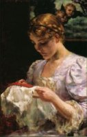 The Embroiderer - Oil Painting Reproduction On Canvas