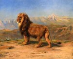 Lion in a Mountainous Landscape - Rosa Bonheur Oil Painting