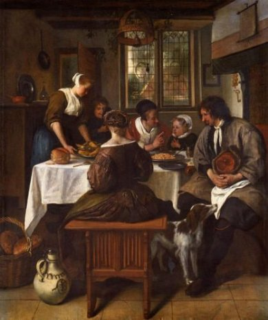 The Prayer before the Meal II - Jan Steen oil painting