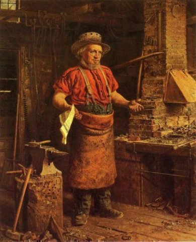 Politics in the Workshop - Thomas Waterman Wood Oil Painting