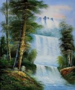 Sierra Waterfall - Oil Painting Reproduction On Canvas