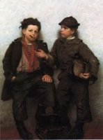 A Joint Investment - John George Brown Oil Painting