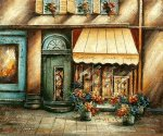 Sidewalk Flower Shop - Oil Painting Reproduction On Canvas