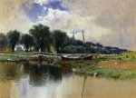 Landscape with Children on a Bridge - Alfred Thompson Bricher Oil Painting