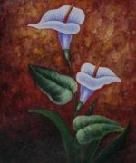 Two Calla Lilies - Oil Painting Reproduction On Canvas