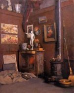 Interior of a Studio with Stove - Gustave Caillebotte Oil Painting