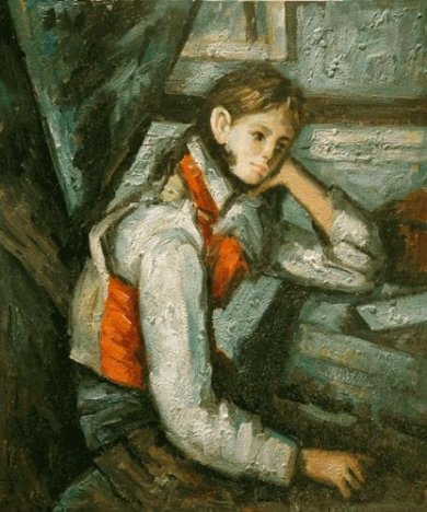 Boy in a Red Waistcoat Leaning on his Elbow - Paul Cezanne Oil Painting