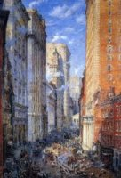 Broad Street Canyon, New York - Colin Campbell Cooper Oil painting