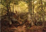Deerhunter in the Woods - John George Brown Oil Painting
